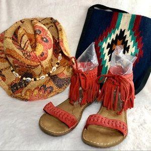 Minnetonka orange 7 fringe boho sandals flats